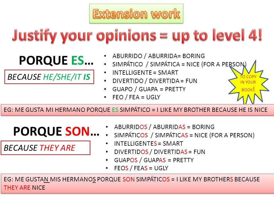 Justify your opinions = up to level 4!