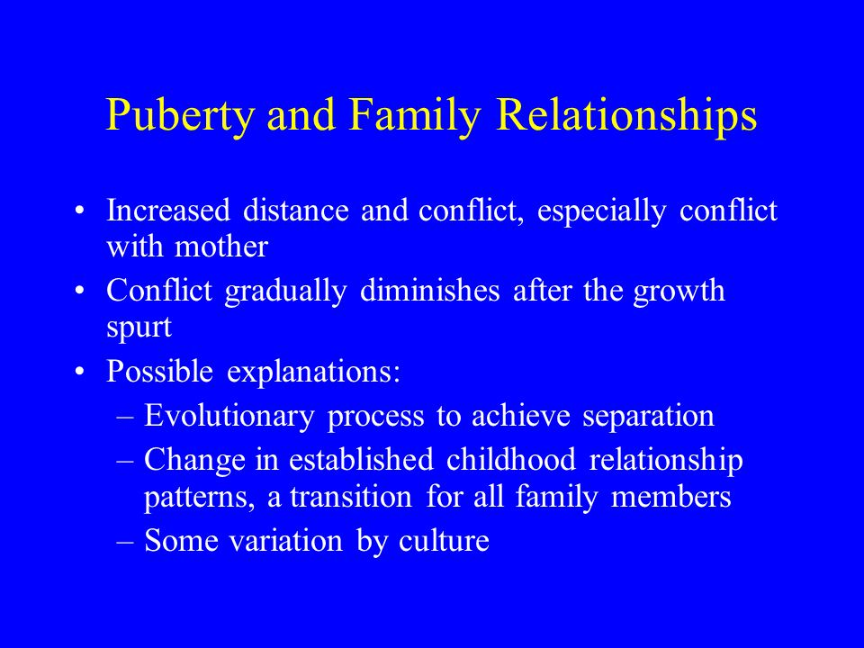 Puberty and Family Relationships