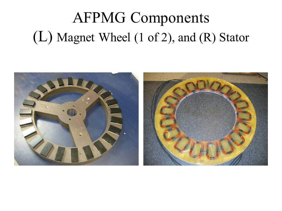 AFPMG Components (L) Magnet Wheel (1 of 2), and (R) Stator