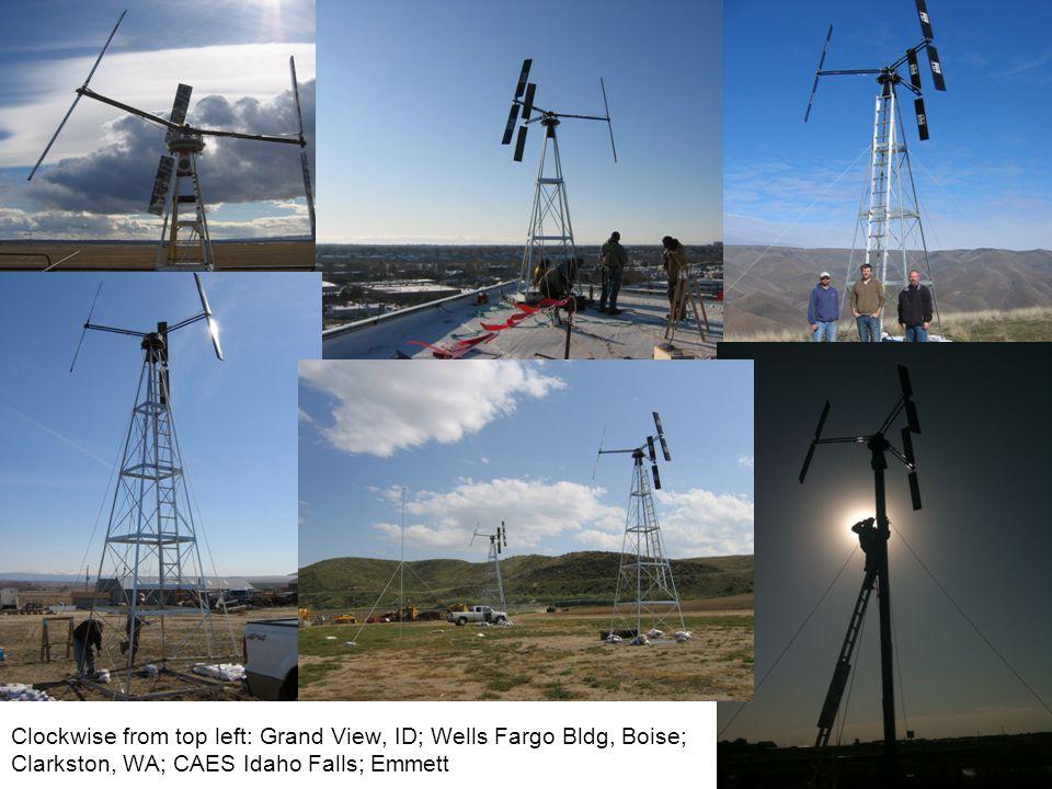Clockwise from top left: Grand View, ID; Wells Fargo Bldg, Boise; Clarkston, WA; CAES Idaho Falls; Emmett