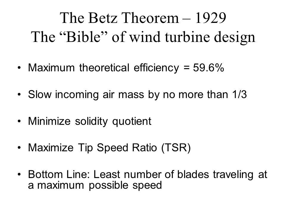 The Betz Theorem – 1929 The Bible of wind turbine design