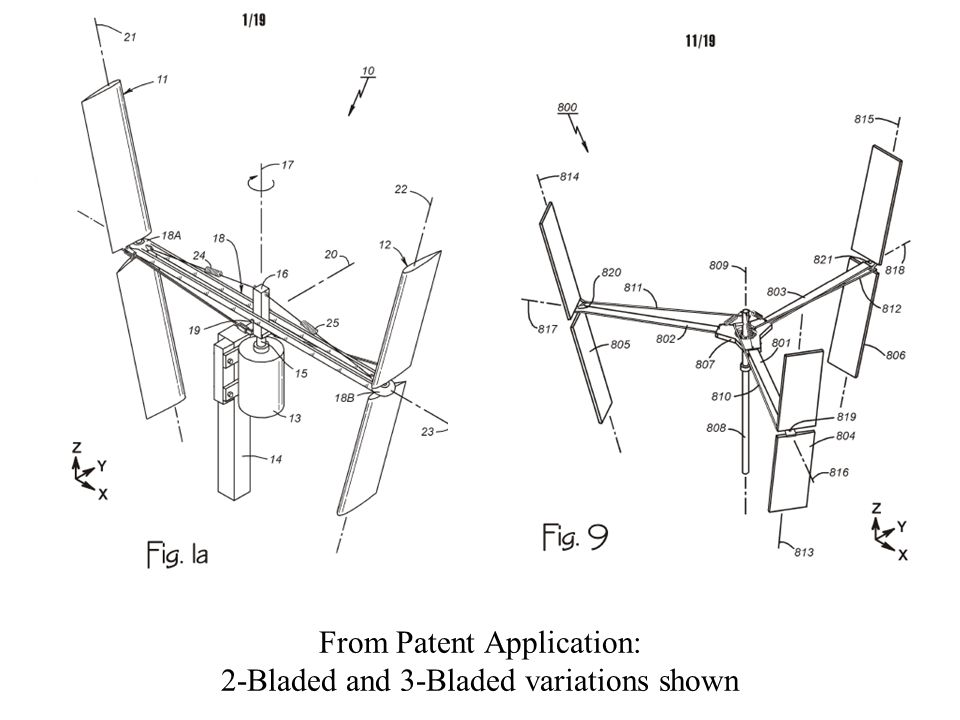 From Patent Application: 2-Bladed and 3-Bladed variations shown