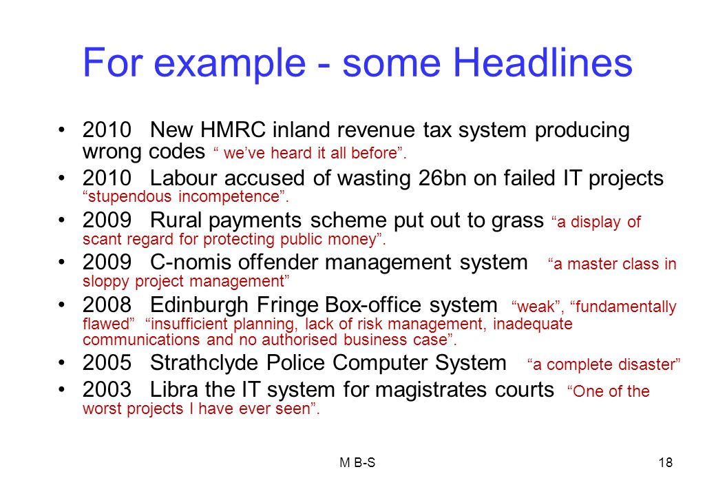 For example - some Headlines