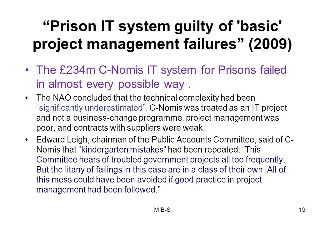 Prison IT system guilty of basic project management failures (2009)
