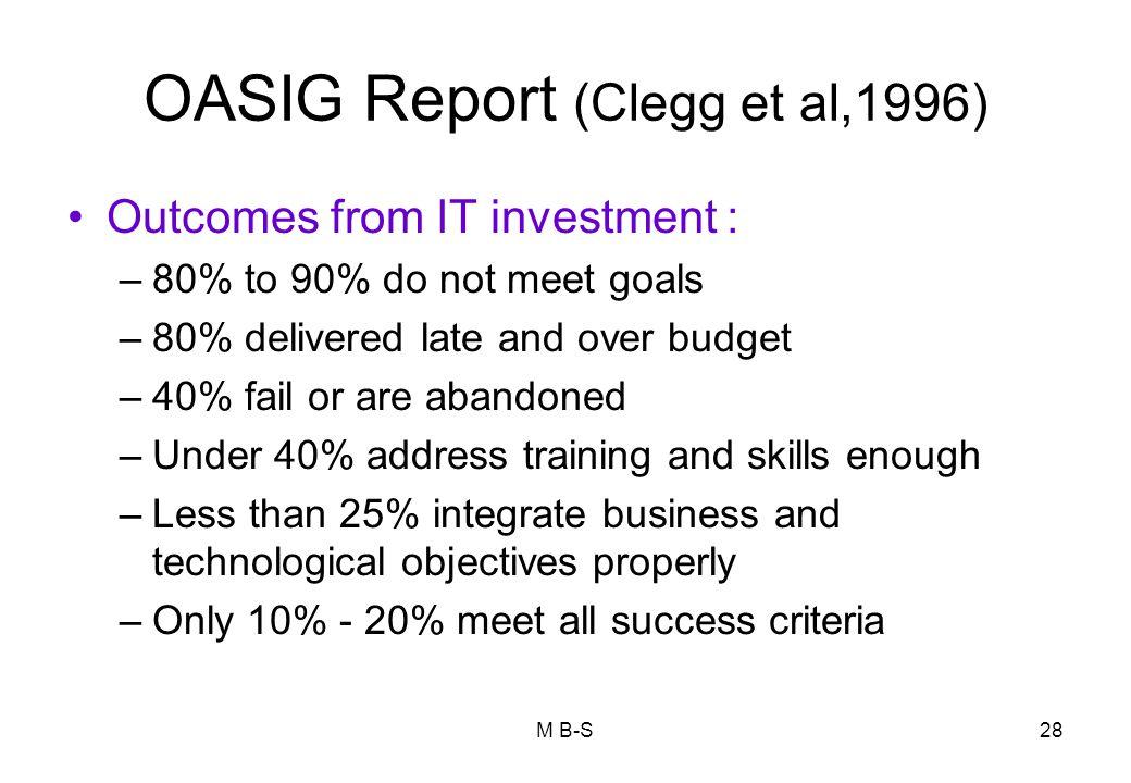 OASIG Report (Clegg et al,1996)