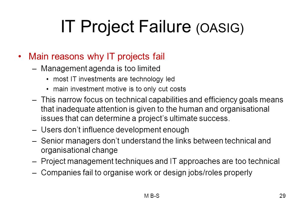 IT Project Failure (OASIG)
