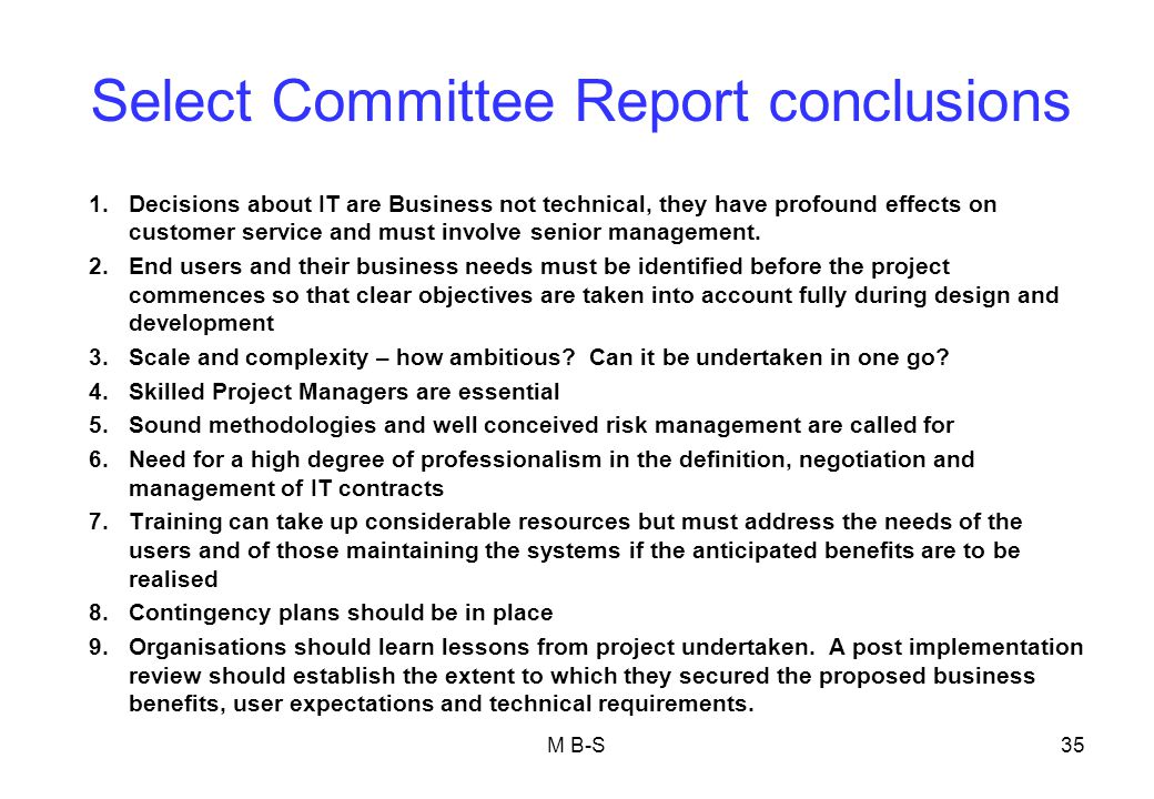 Select Committee Report conclusions
