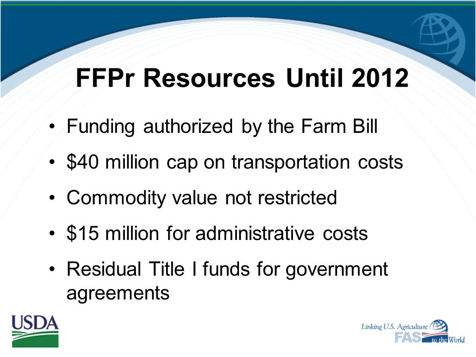 FFPr Resources Until 2012 Funding authorized by the Farm Bill