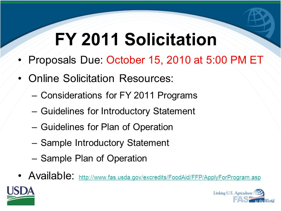 FY 2011 Solicitation Proposals Due: October 15, 2010 at 5:00 PM ET