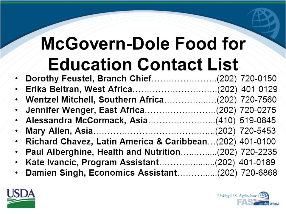 McGovern-Dole Food for Education Contact List