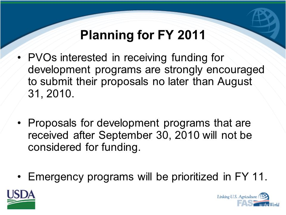 Planning for FY 2011