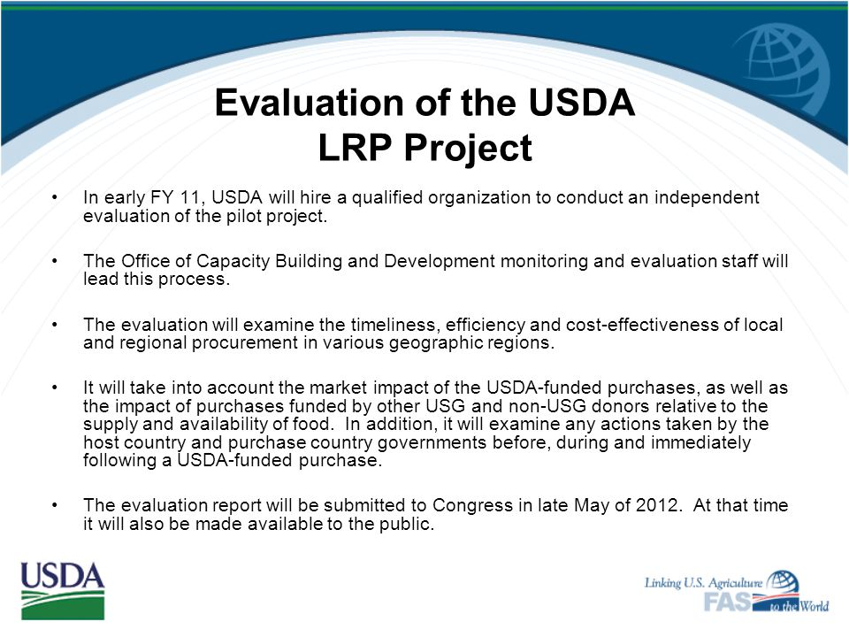 Evaluation of the USDA LRP Project