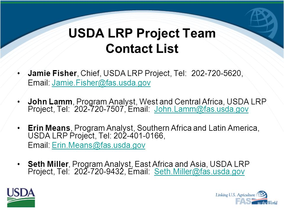 USDA LRP Project Team Contact List