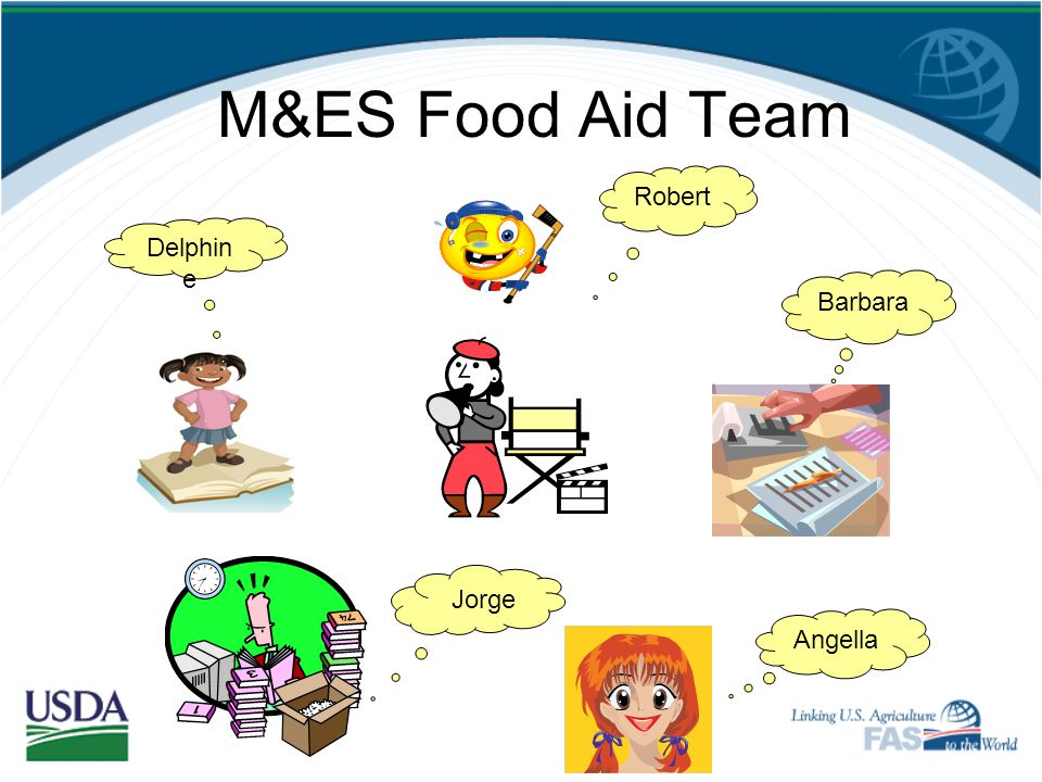 M&ES Food Aid Team Robert Delphine Barbara Jorge Angella