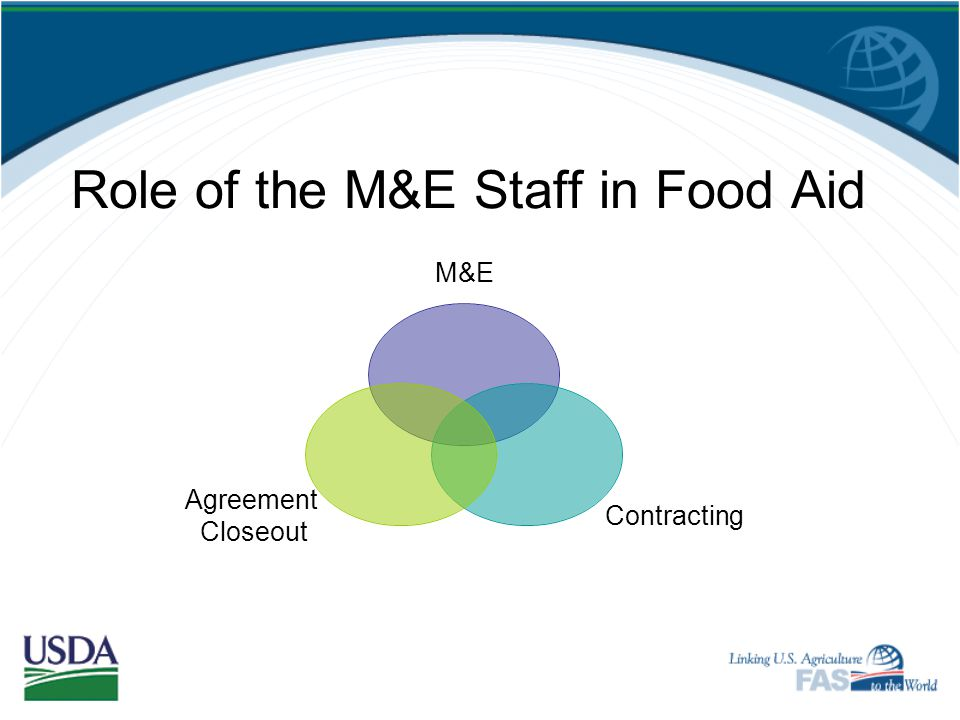 Role of the M&E Staff in Food Aid
