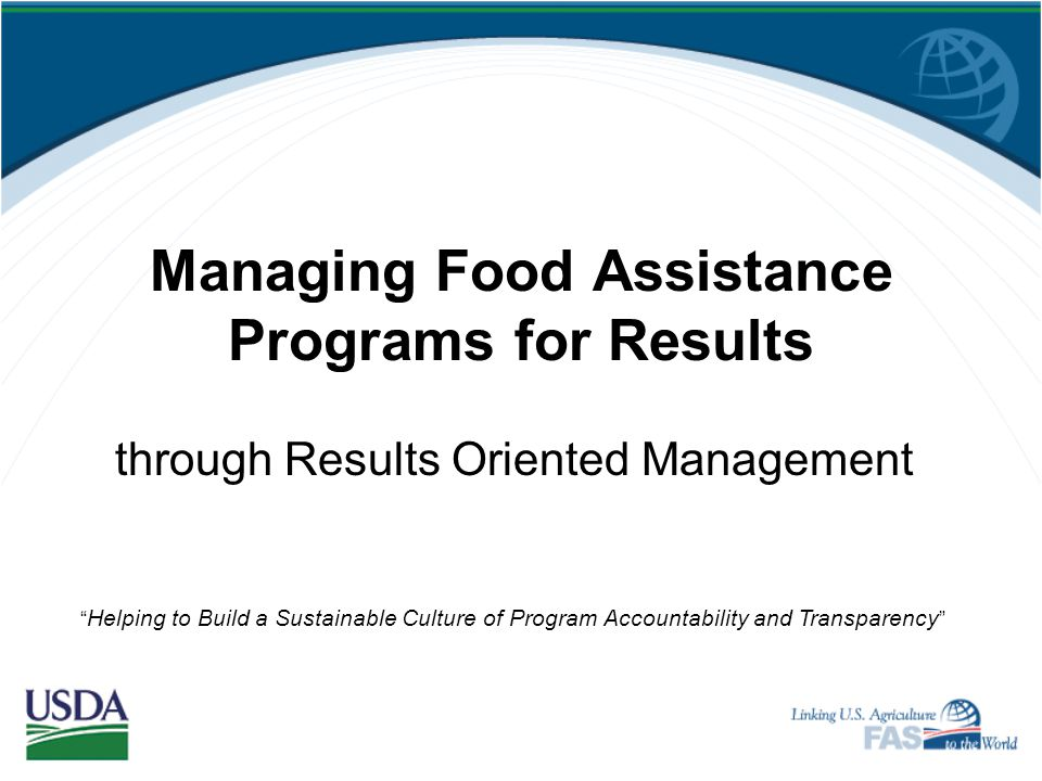 Managing Food Assistance Programs for Results