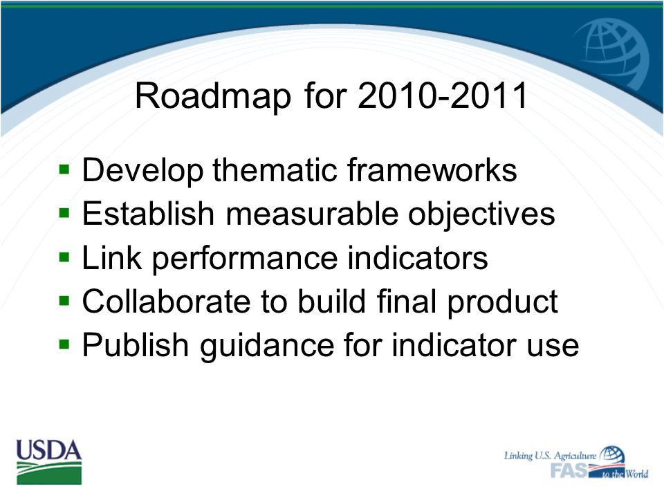 Roadmap for 2010-2011 Develop thematic frameworks