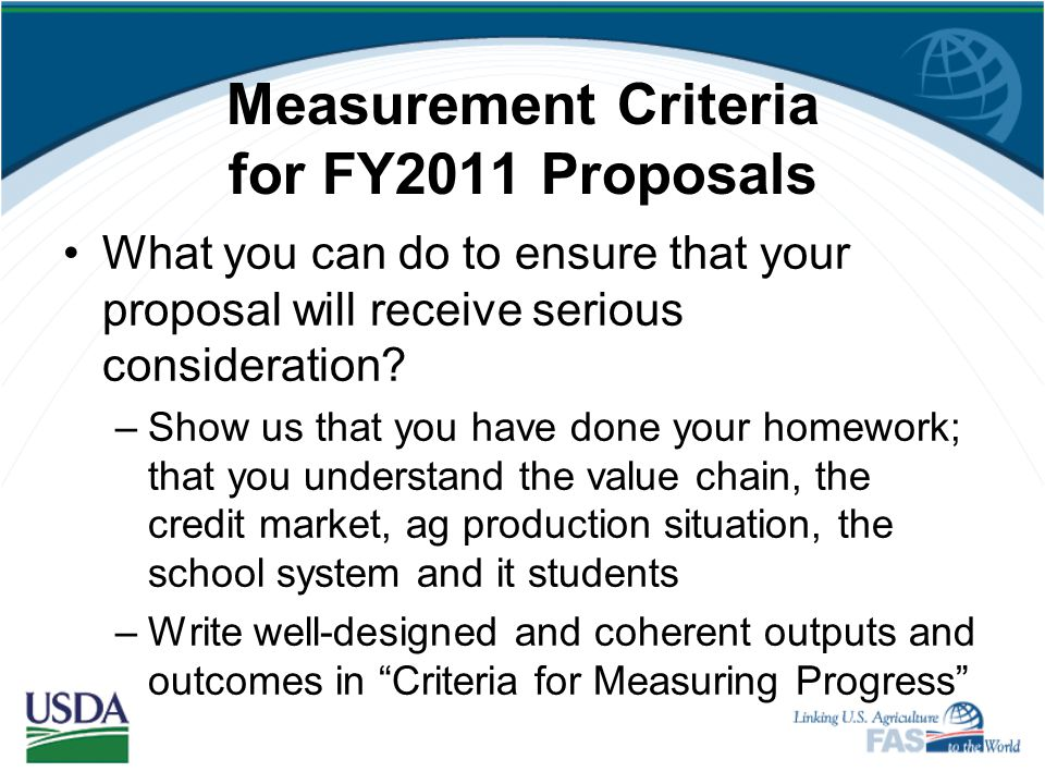 Measurement Criteria for FY2011 Proposals