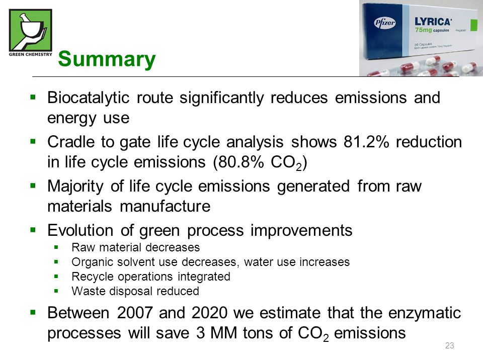 Summary Biocatalytic route significantly reduces emissions and energy use.