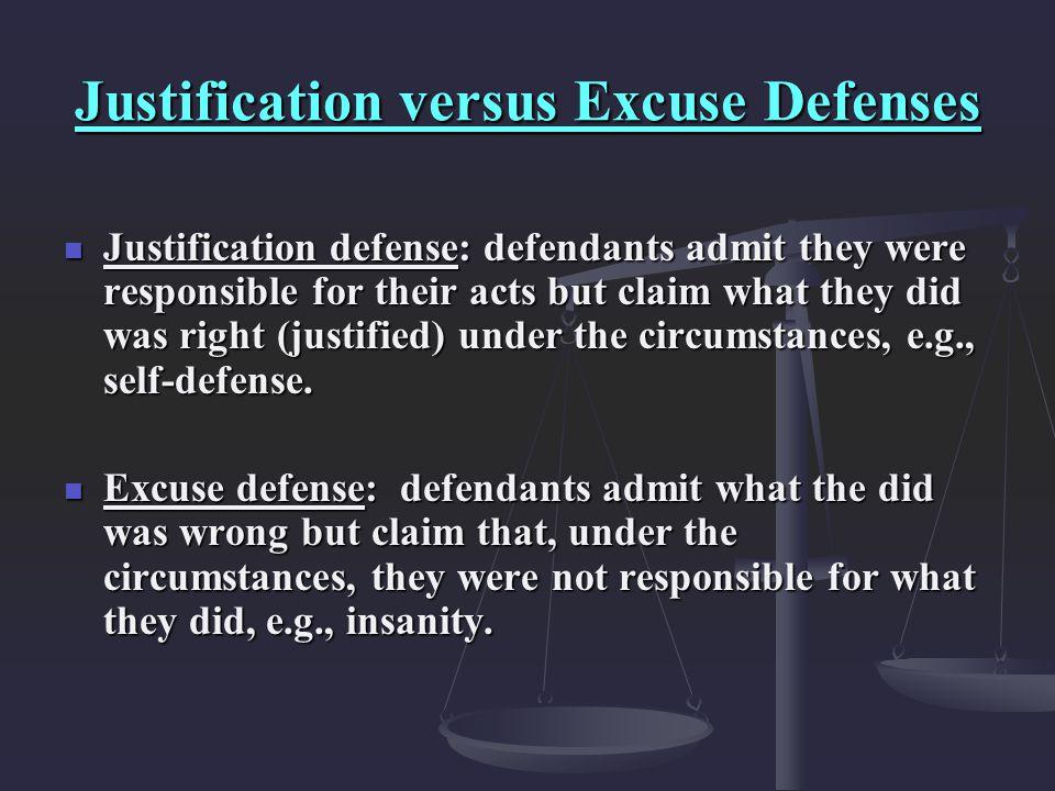 Justification versus Excuse Defenses