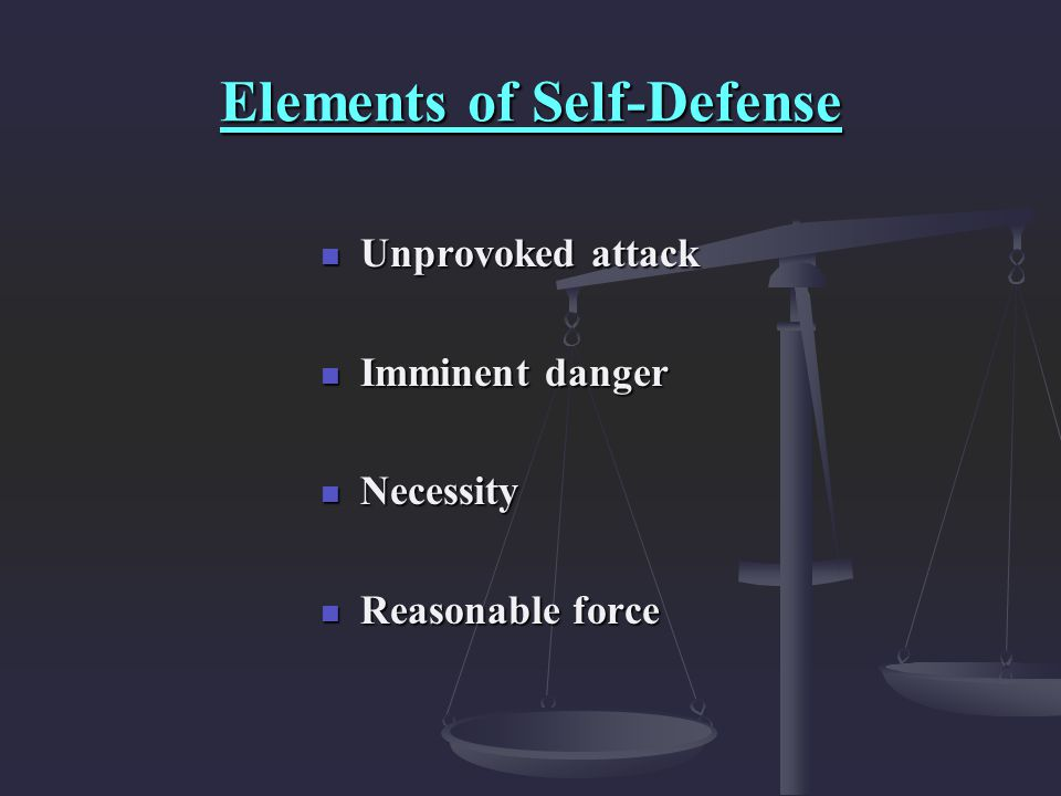 Elements of Self-Defense
