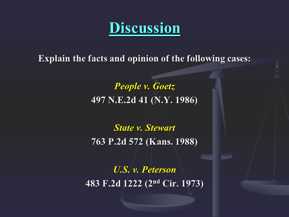 Explain the facts and opinion of the following cases: