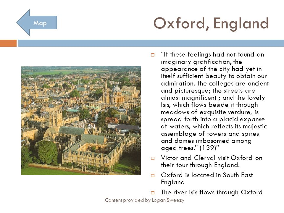 Oxford, England Map.