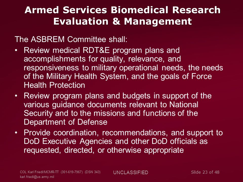 Armed Services Biomedical Research Evaluation & Management