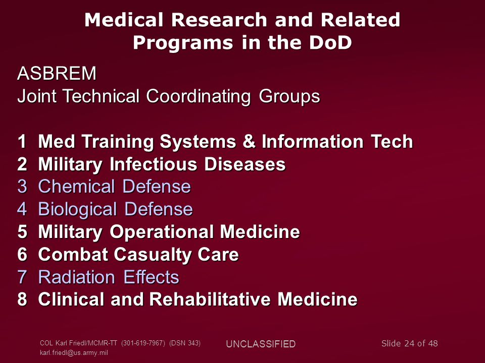 Medical Research and Related Programs in the DoD