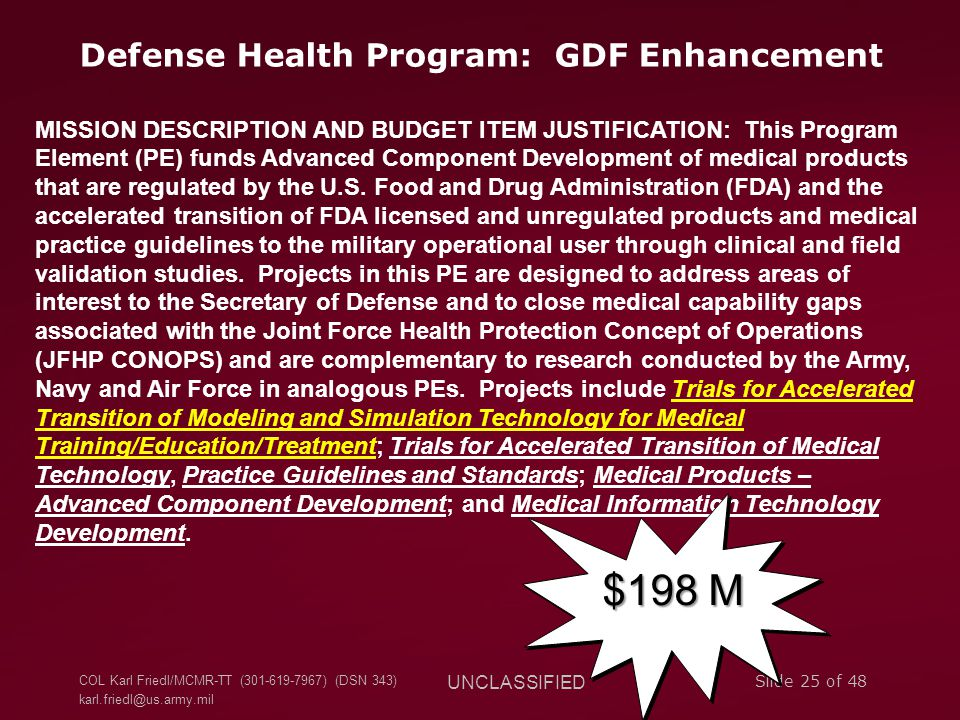 Defense Health Program: GDF Enhancement