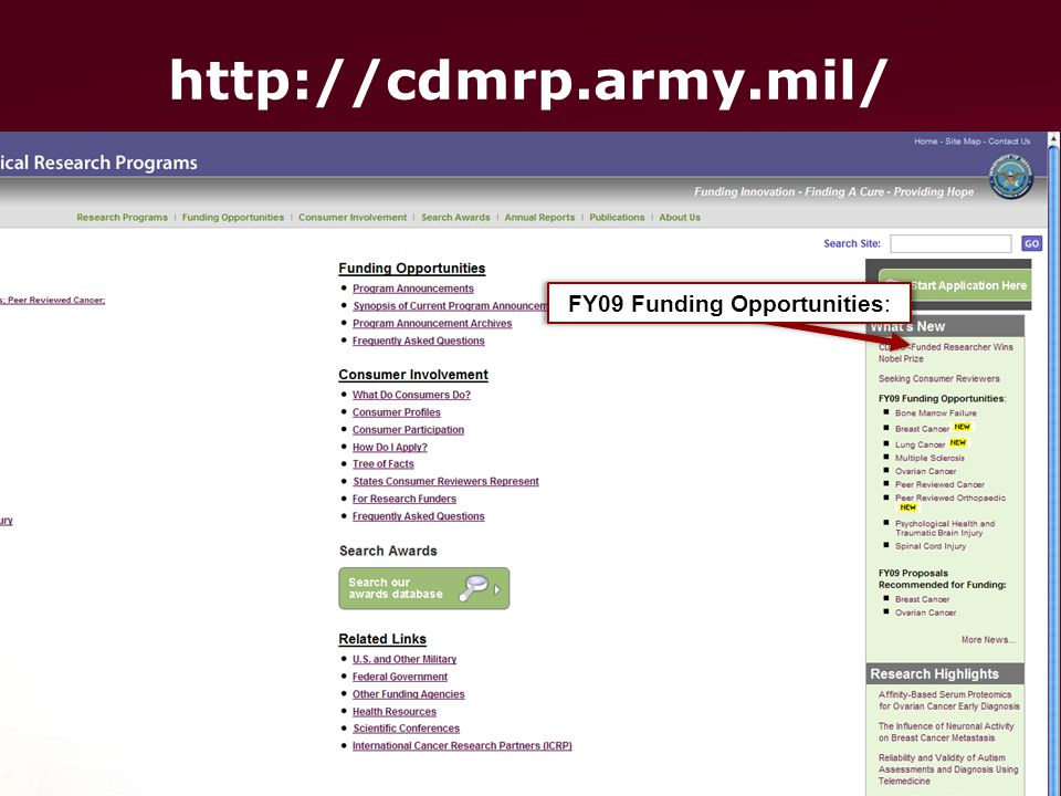 FY09 Funding Opportunities:
