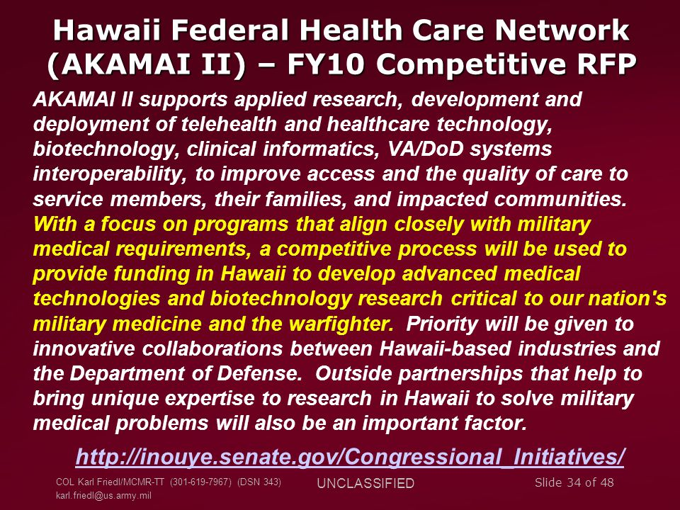Hawaii Federal Health Care Network (AKAMAI II) – FY10 Competitive RFP