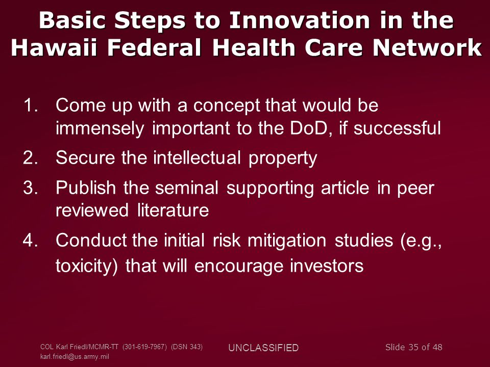 Basic Steps to Innovation in the Hawaii Federal Health Care Network
