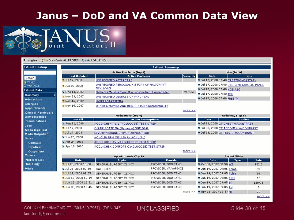 Janus – DoD and VA Common Data View