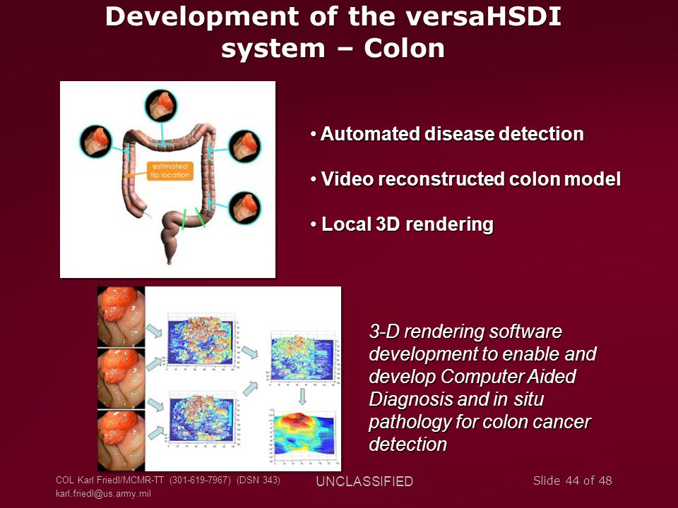 Development of the versaHSDI system – Colon