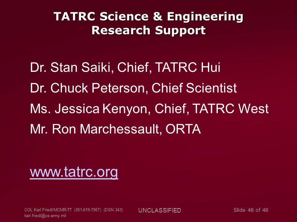 TATRC Science & Engineering Research Support