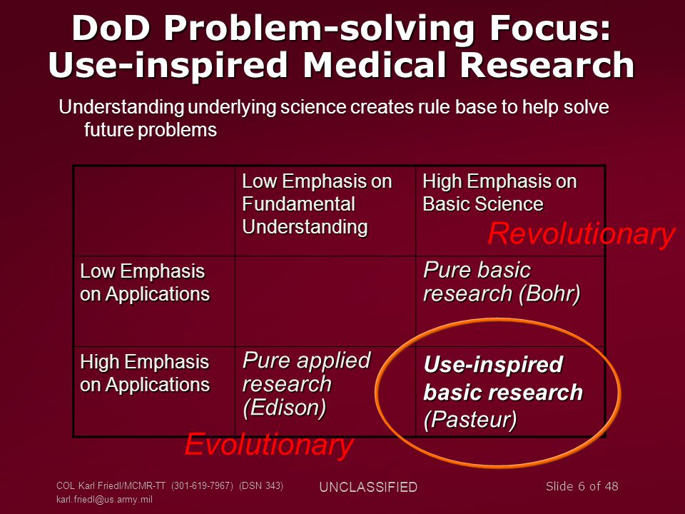 DoD Problem-solving Focus: Use-inspired Medical Research