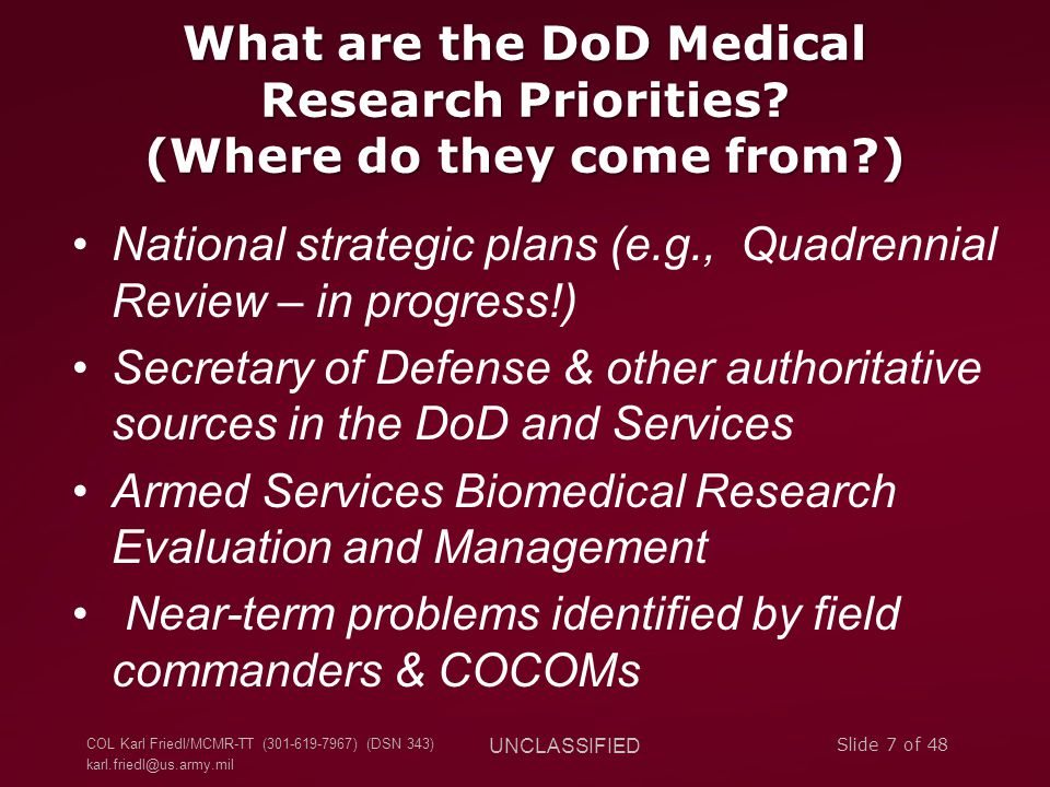 What are the DoD Medical Research Priorities. (Where do they come from