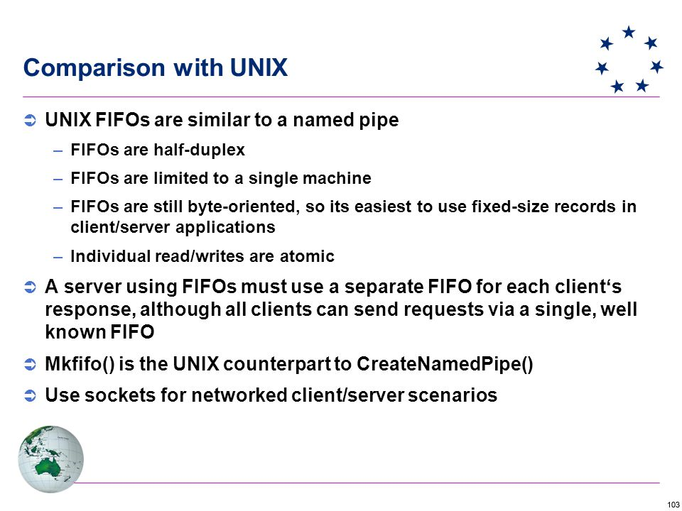 Comparison with UNIX UNIX FIFOs are similar to a named pipe