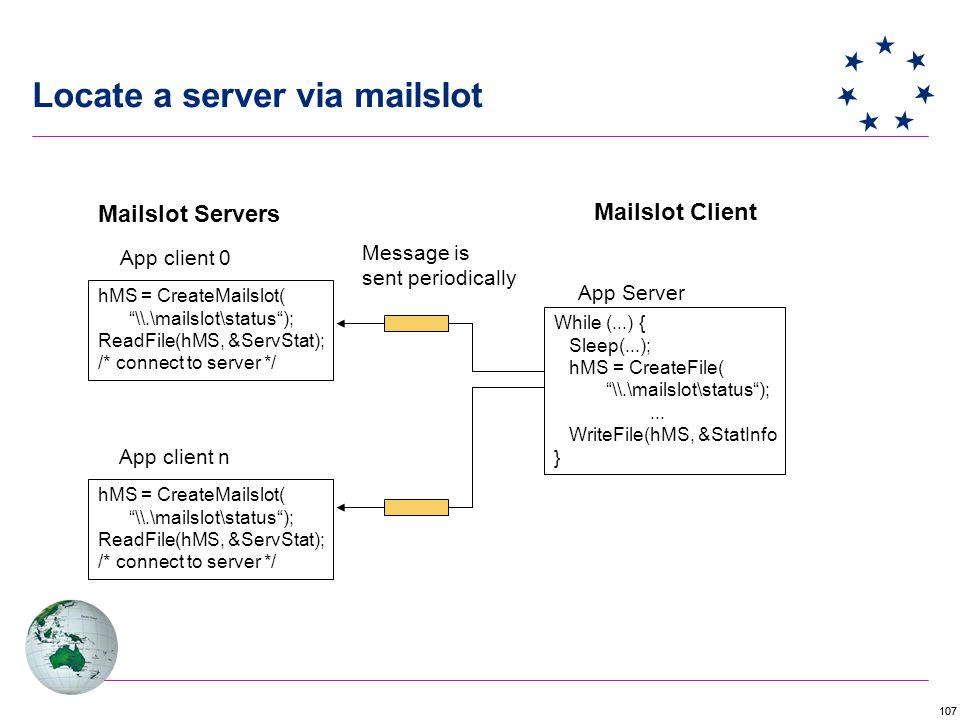 Locate a server via mailslot