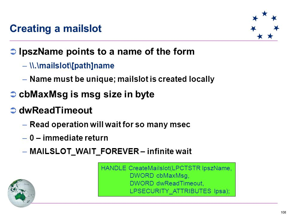 Creating a mailslot lpszName points to a name of the form