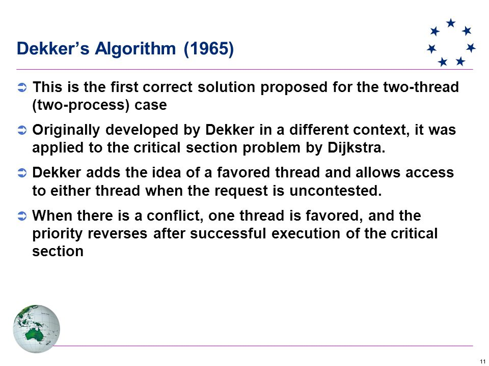 Dekker's Algorithm (1965) This is the first correct solution proposed for the two-thread (two-process) case.