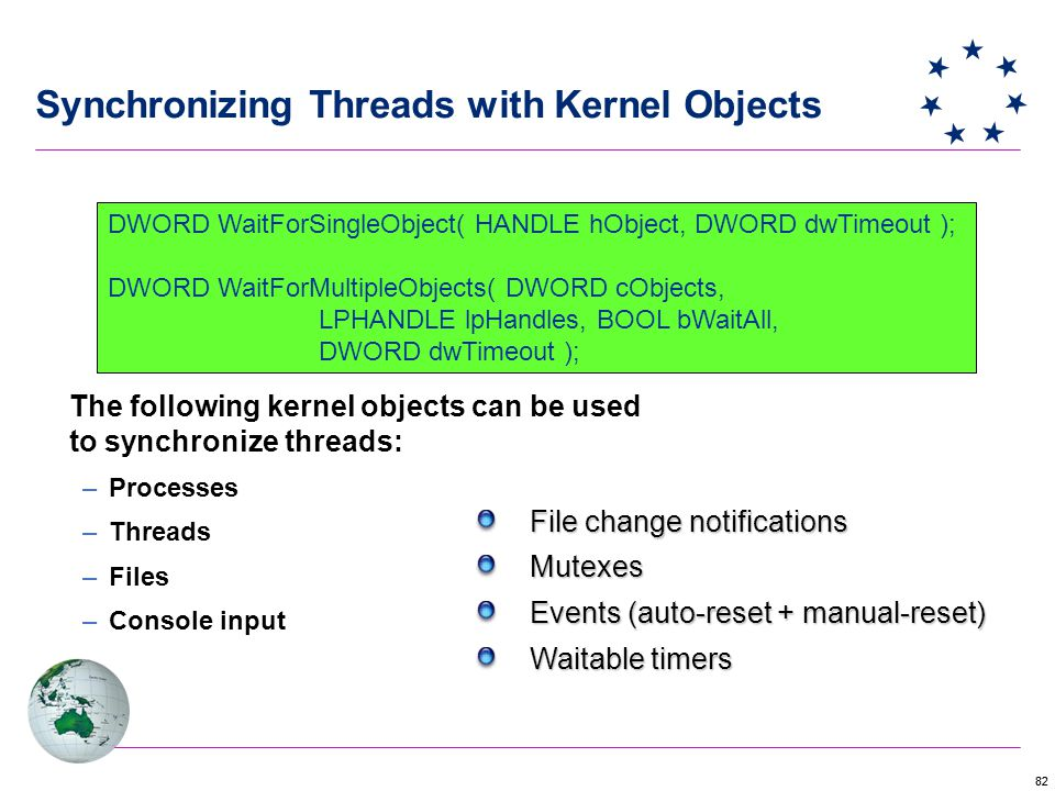 Synchronizing Threads with Kernel Objects