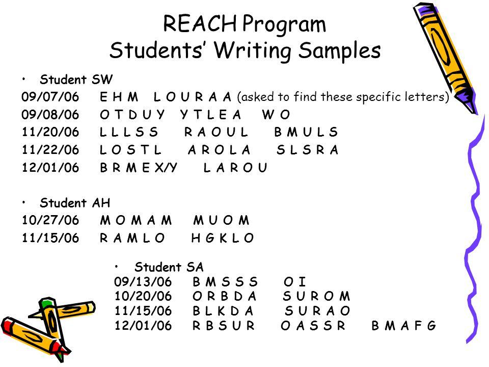 REACH Program Students' Writing Samples