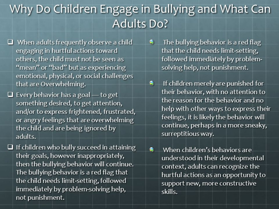 Why Do Children Engage in Bullying and What Can Adults Do