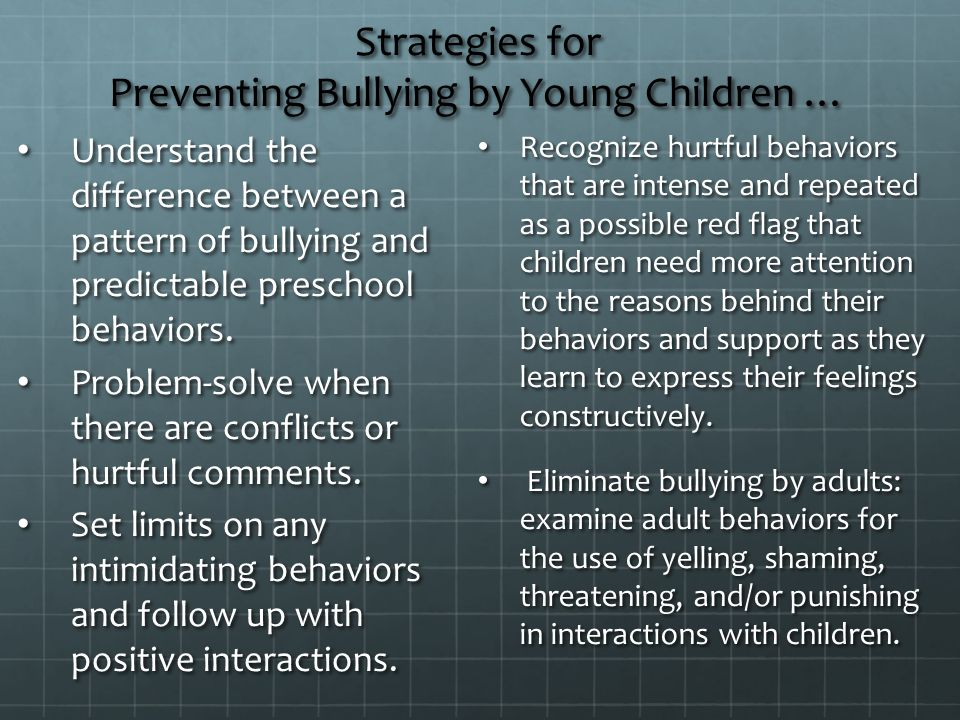 Strategies for Preventing Bullying by Young Children …