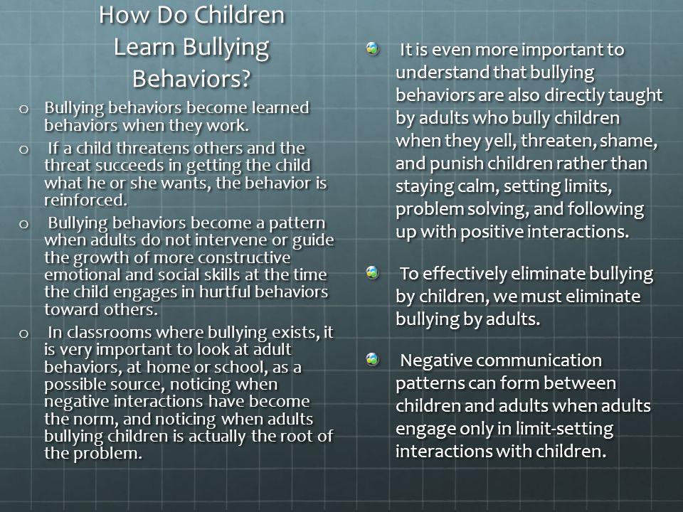 How Do Children Learn Bullying Behaviors