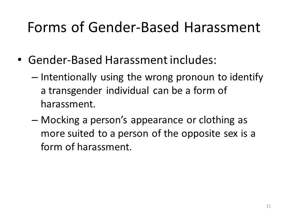 Forms of Gender-Based Harassment