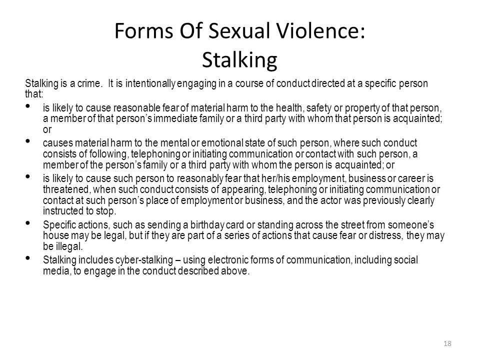 Forms Of Sexual Violence: Stalking