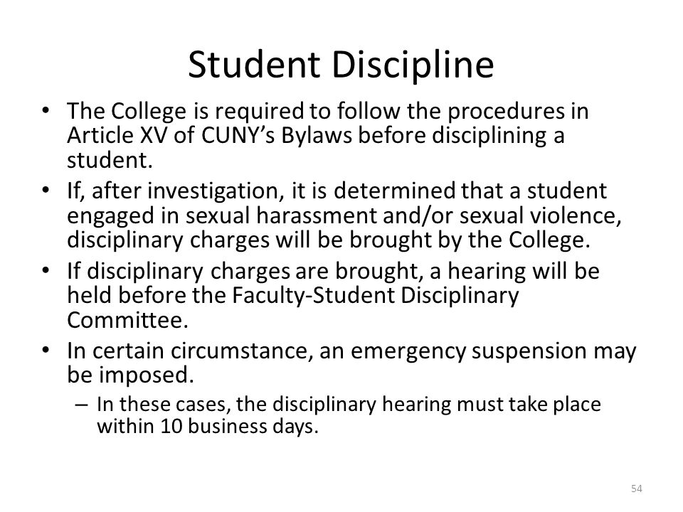 Student Discipline The College is required to follow the procedures in Article XV of CUNY's Bylaws before disciplining a student.
